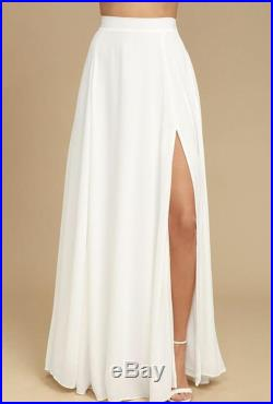White Flowing Maxi Skirt with Split