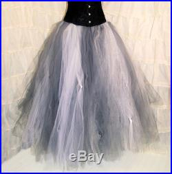 White Grey Shimmer Silver Formal Tulle Wedding Skirt Adult all sizes MTCoffinz