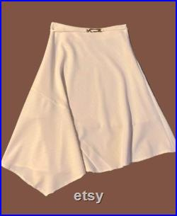 White and Silver Belted Asymetric Skirt S