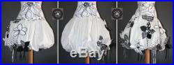 White cotton ball skirt style inlays in black and white flowers large sizes to choose from