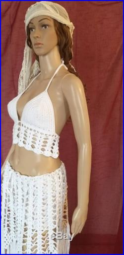 White crochet skirt and top are 2 pieces