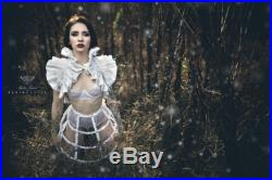 White taffeta boned gothic victorian wedding bridal hoop crinoline cage skirt decorated with octagon crystals