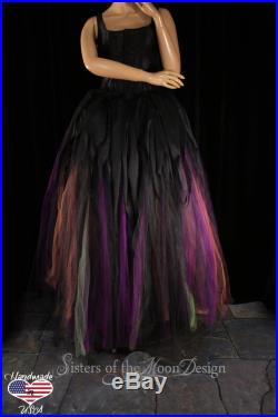 Witch tulle skirt floor length adult tutu Streamer Halloween Costume cosplay formal Bridal wedding -All Sizes XS-Plus Sisters of the Moon