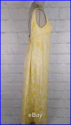 Women dress formal gown yellow vintage 60s backless rhinestone button prom wedding floral sleeveless size XS