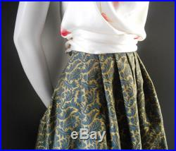 Women's dark green and gold couture skirt, high fashion knee height skirt, heavy satin fabric embroidery, handmade