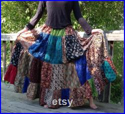 Womens Skirt Long Patchwork Handmade Indian Fabrics 35 -41 length for hips up to 49