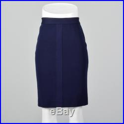 XS 1980s Chanel Navy Blue Knit Pencil Skirt Classic Straight Skirt Wear to Work Separates Day Wear 80s Vintage