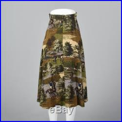 XS Novelty Print Skirt Horse Theme Pockets Equestrian Horseback Riding Gray Brown Zip Front Fall 1980s Vintage Skirt