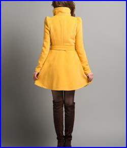 Yellow Long Dress Spring Trench Coats Wool Cape Coat Skirt Autumn Winter Wool Dress Cape Jacket-WH073 M,L,XL,XXL
