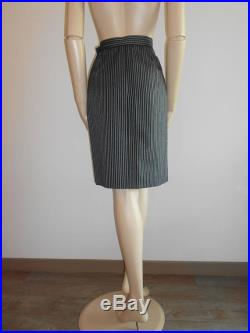 Yves Saint Laurent mid length skirt in navy blue wool with white stripes, size M, vintage 80s, Saint Laurent Rive Gauche vintage skirts