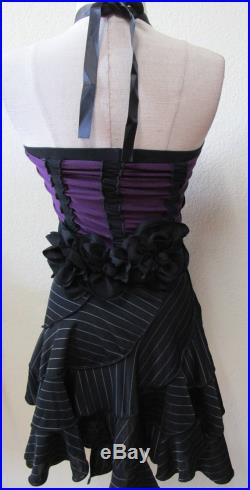 black and purple color with elastic gathering design skirt or tube dress with 6 roses decoration front and back plus made in USA(vn51)