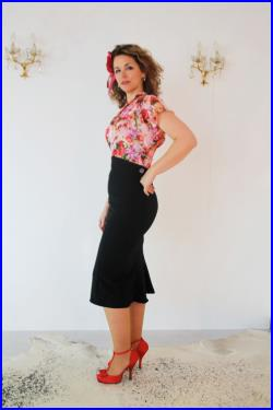 high waisted skirt, vintage style fishtail skirt, 1930's 1940's pencil skirt, made to measure secretary style, WWII 50's style