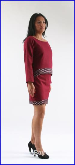 linen and cotton skirt and tunic set with wax panel