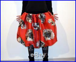 midi skirt red with black flowers