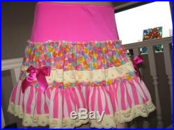 sequoia New Pink,White,Yellow Love Hearts Stripes Lace Long skirt,Rock,Punk,Lolita,Cosplay Gift all sizes