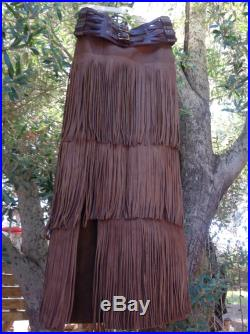 showdiva designs 3 Tier Leather Fringe Skirt to the Ground