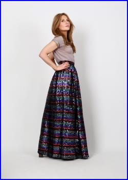 vintage SEQUIN 70s rainbow Maxi Skirt XS full ball gown striped cocktail formal