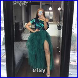 women s Layered Tulle skirt Female High-Waist Feast A-Line Puff Front long Split Faldas Mujer 2021 party black Mesh woman skirts