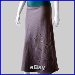 womens maxi skirt with applique bamboo organic cotton made to order